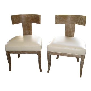 Ironies Pickled Oak Chairs - A Pair