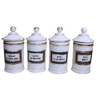 Antique Porcelain Apothecary Jars - Set of 4
