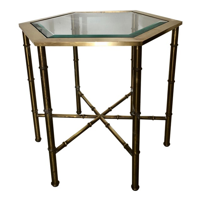 Mastercraft Brass Faux Bamboo Hexagonal Accent Table - Image 1 of 5