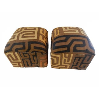 Upholstered Kuba Ottomans - a Pair