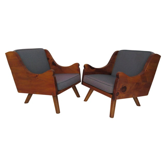Image of Vintage Rustic Modern Style Club Chairs - Pair