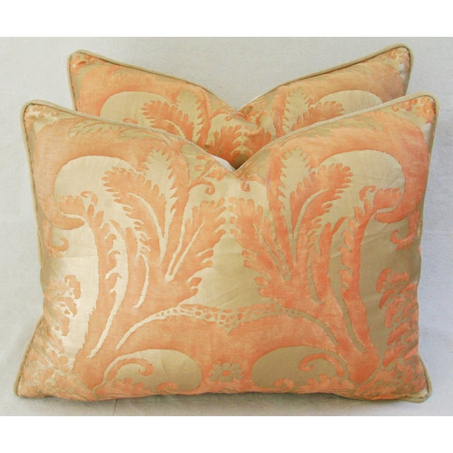 Italian Fortuny Glicine Gold Pillows - Pair - Image 8 of 11