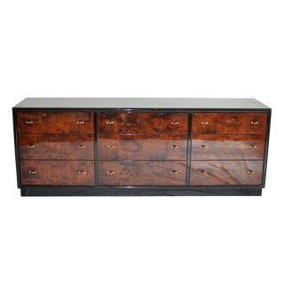 Henredon Black Lacquer & Burled Wood 9 Drawer Chest of Drawers
