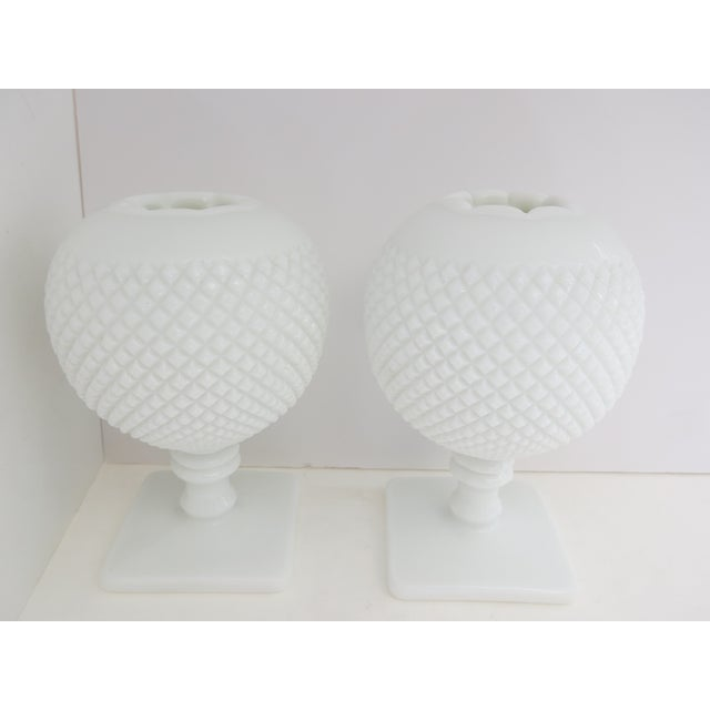 Milk Glass Diamond Point Vases - A Pair - Image 5 of 5