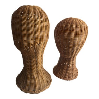 Vintage Wicker Sculptural Head Forms - A Pair