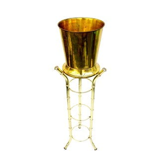 Brass Faux Bamboo Champagne Chiller & Stand