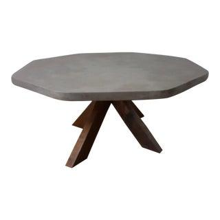 Concrete Octagonal Cherry Legged Coffee Table