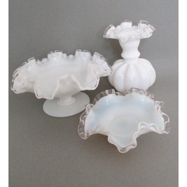 Image of Trio of Fenton Silvercrest Milk Glass