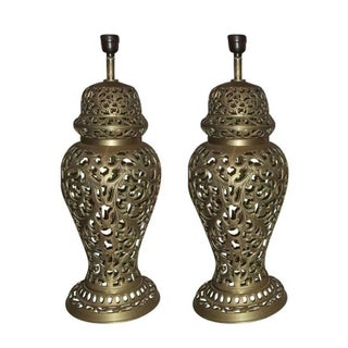 Vintage Pierced Brass Ginger Jar Lamps - A Pair