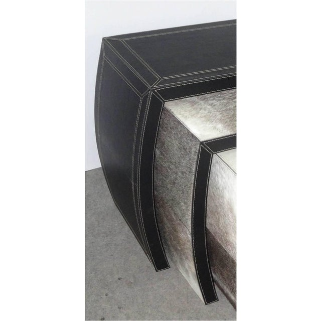 Hair on Black Leather Nesting Tables - Set of 3 - Image 4 of 5