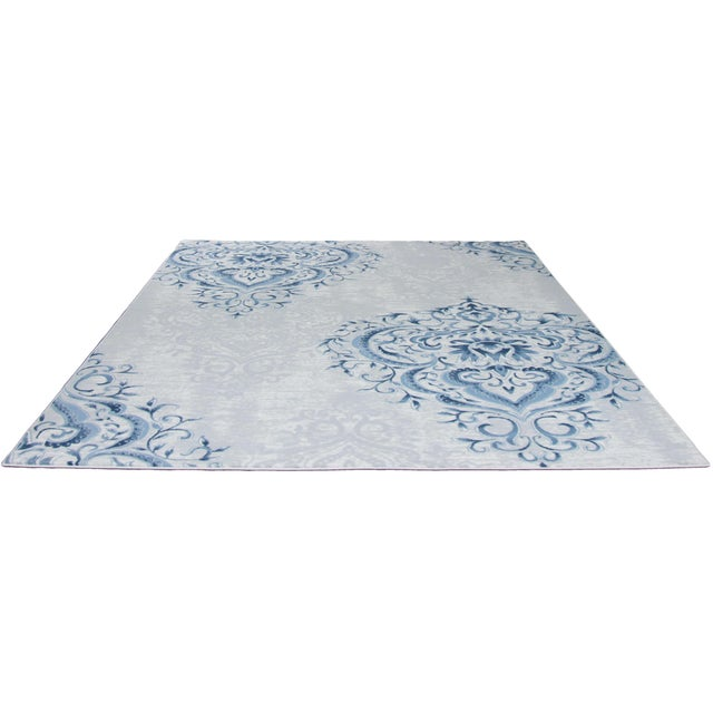 Blue Ivory Damask Rug - 5' x 8' - Image 5 of 5