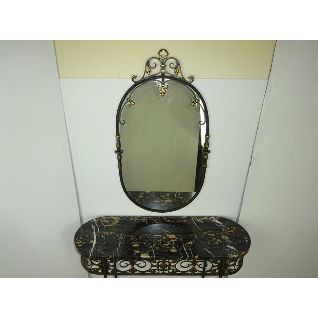 Antique Oval Marble Console with Mirror - Image 4 of 11