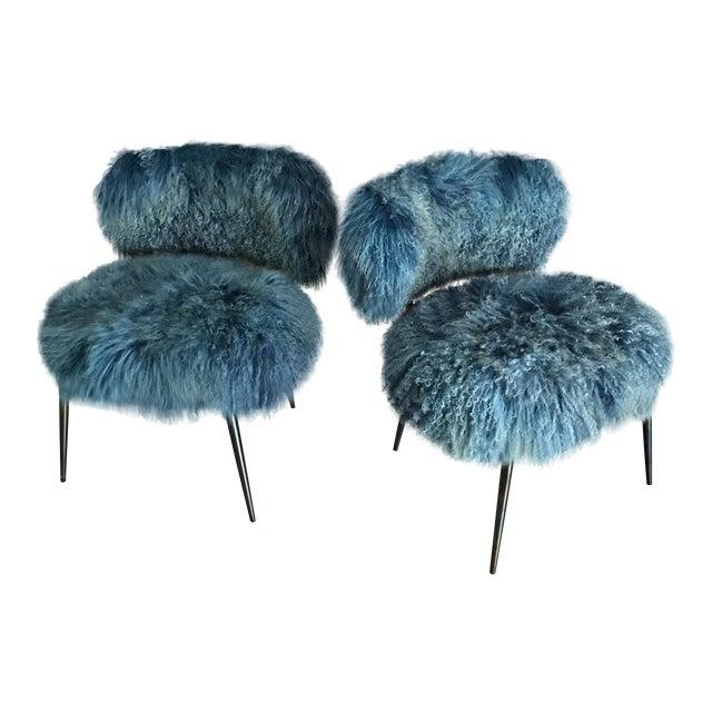 Baxter Mongolia Fur Chairs Pair Chairish