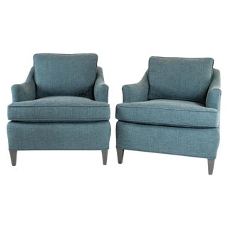 Teal Woven Armchairs - Pair