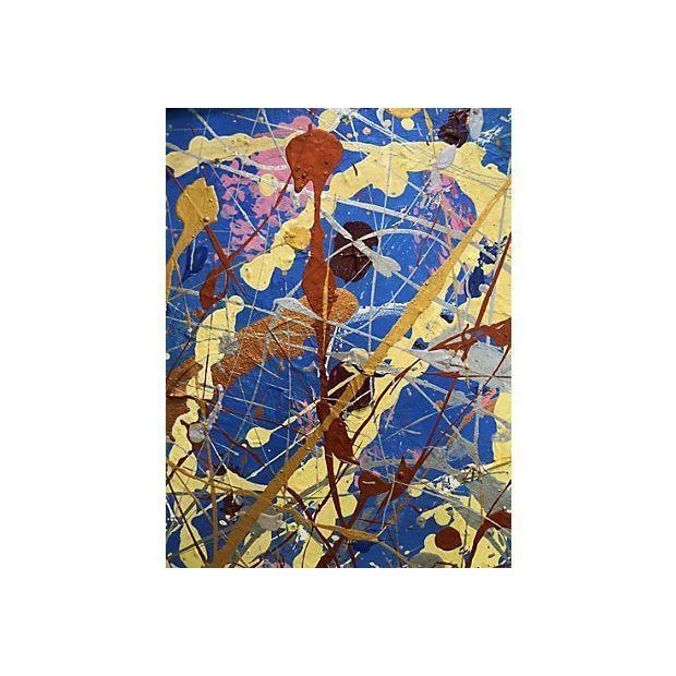 Vintage Pollock-Inspired Abstract Painting - Image 3 of 4
