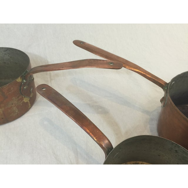 Antique Copper Pots with Dovetailing - Set of 3 - Image 7 of 10