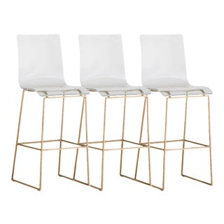 Gabby Home King Clear Lucite Acrylic & Gold Bar Stool Chairs – Set of 3