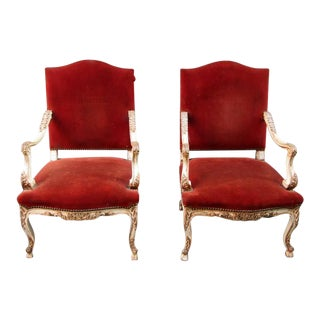Pair of 19th French Louis XV Velvet Upholstered Armchairs