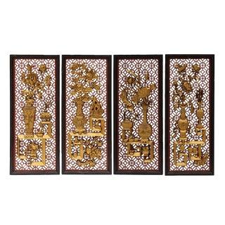 Chinese Flower Vase Red Black Golden Wood Wall Panel Set
