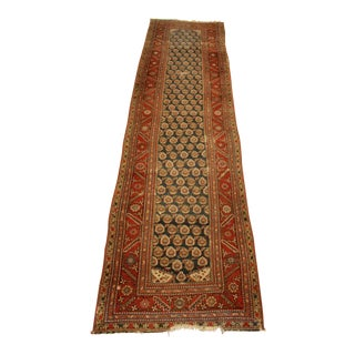Long Vintage Hand-Knotted Wool Rug - 13′5″ X 3'8""