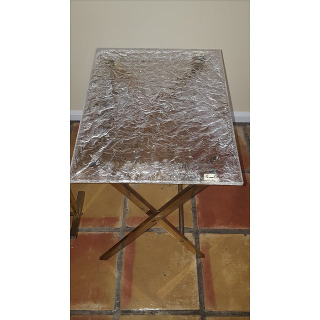 Lucite & Brass Tray Tables & Caddy - Set of 2 - Image 5 of 7