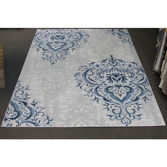 Image of Blue Ivory Damask Rug - 5' x 8'