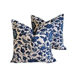 Indigo Blue Scrolling Floral Linen Pillows - a Pair