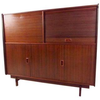 Rosewood Cabinet With Tambour Door