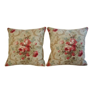 Designer Ralph Lauren Cottage Rose Pillows - Pair