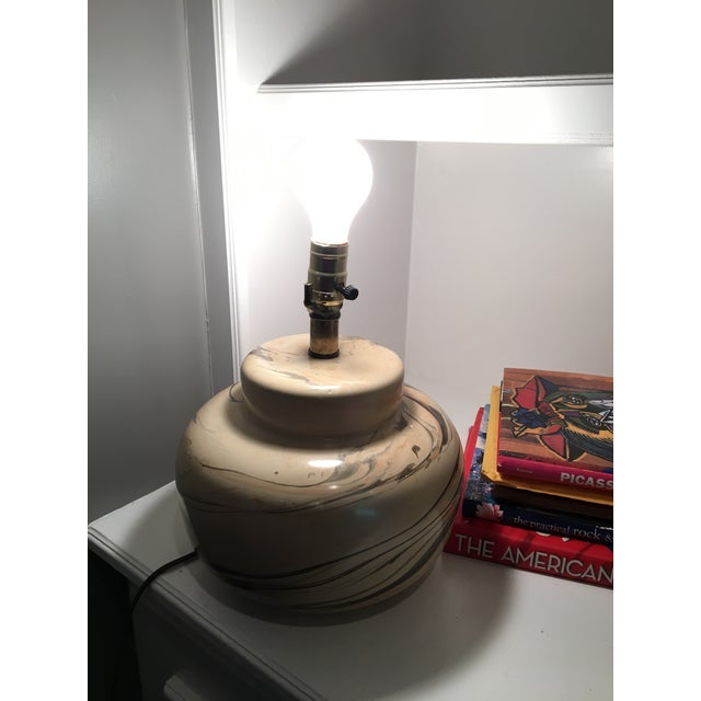 Vintage Swirled Pottery Table Desk Lamp - Image 4 of 4