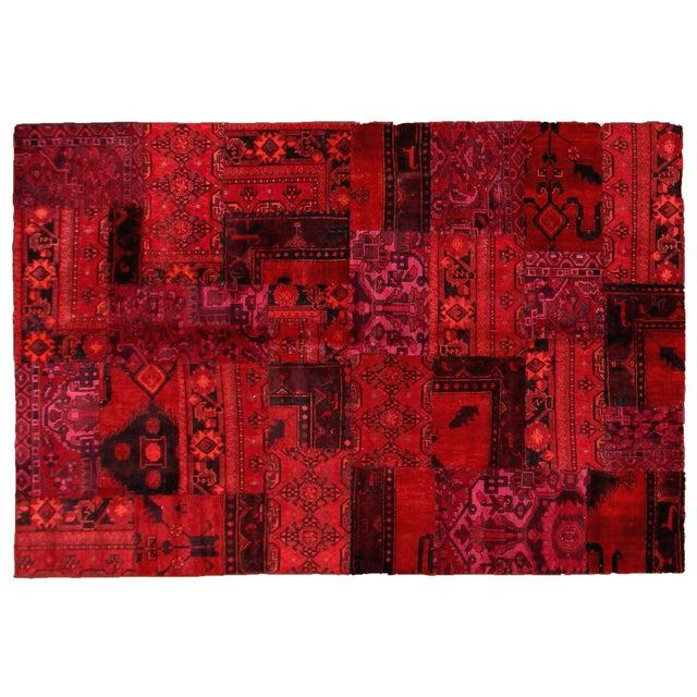 "Apadana - Red Patchwork Overdye Rug - 6'1"" x 9'1"" - Image 1 of 2"