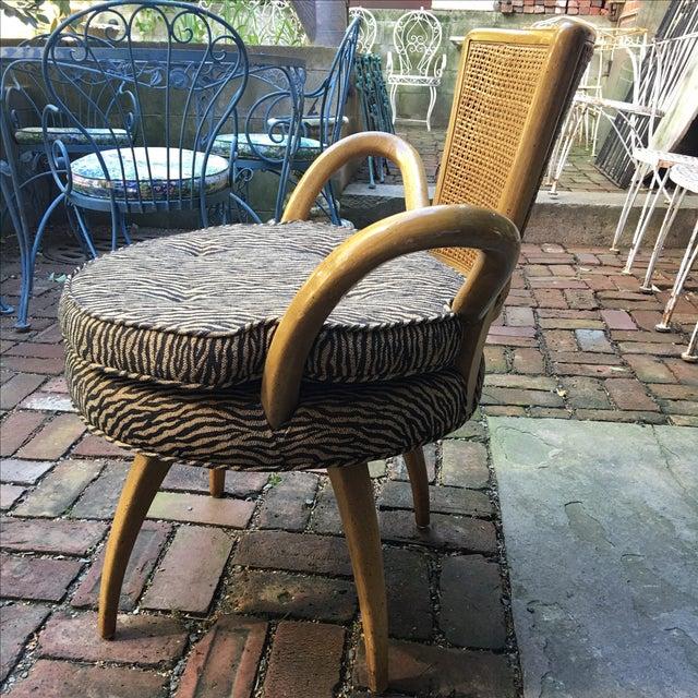 Zebra Upholstered Cane Back Swivel Chair - Image 7 of 7
