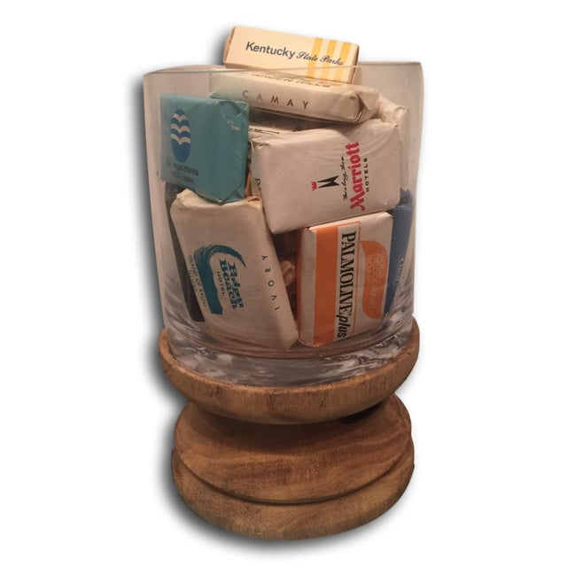 Image of Glass Display of 20 Vintage Hotel Soaps