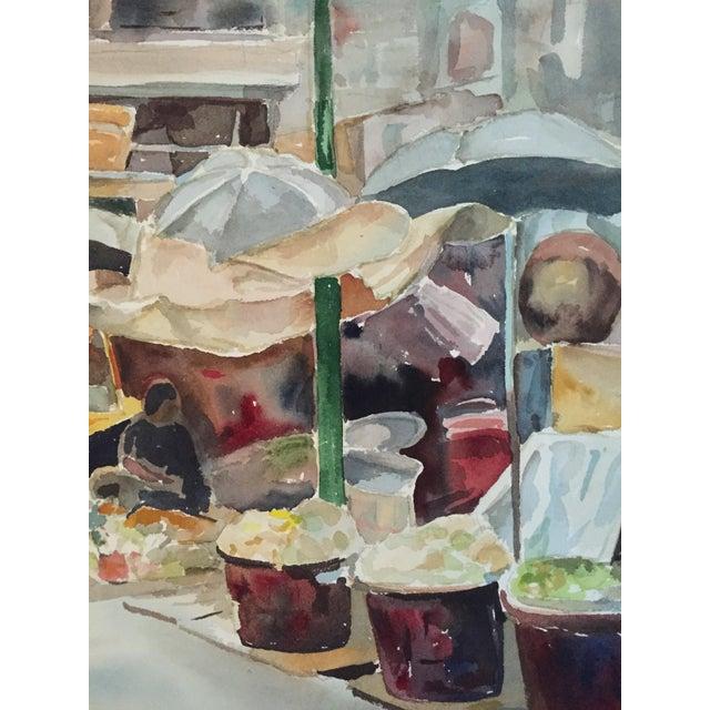 Thelma Moody Gouache Farmer's Market Painting - Image 3 of 7