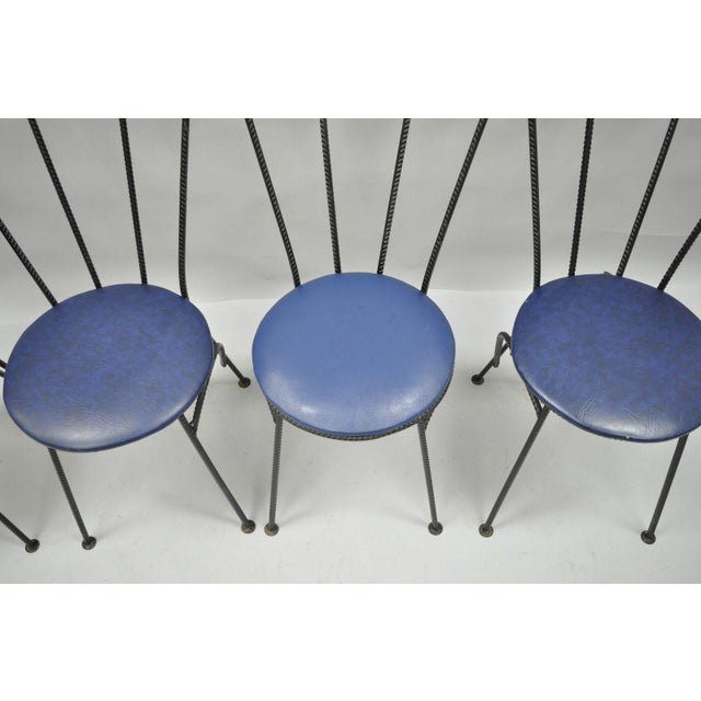 Mid-Century Modern Brutalist Iron Rebar Dining Chairs - Set of 4 - Image 7 of 11