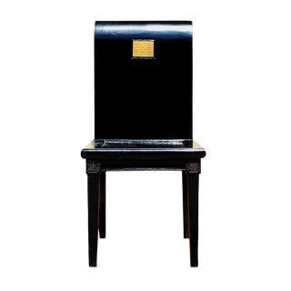Black Lacquer Scroll Back Calligraphy Accent Fusion Chair cs2642
