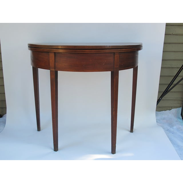 Sheraton-Style Demilune Rosewood Game Table - Image 3 of 11