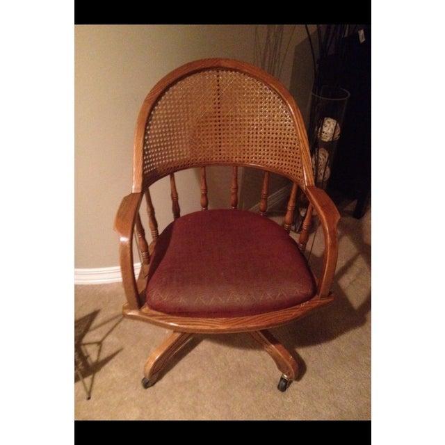 Vintage Cane Lawyers Adjustable Desk Chair - Image 3 of 6
