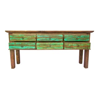Vintage Antique Rustic Six Drawer Console Table - Eco-Friendly Reclaimed Solid Wood