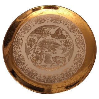 Montana State Gold Detailed Ceramic Plate