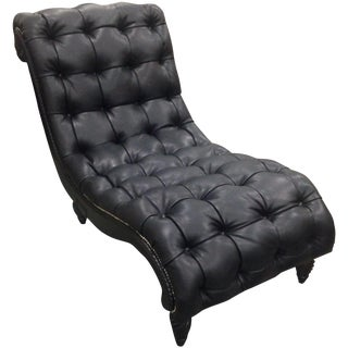 Drexel Heritage Black Leather & Wood Lounge Chair