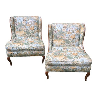 Vintage Winged Slipped Chairs in Floral - Pair