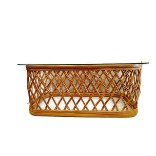 Albini Style Vintage Woven Bamboo Coffee Table