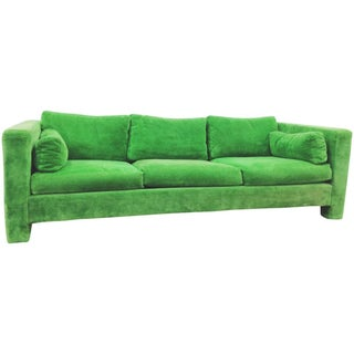 Milo Baughman Thayer Coggin Stunning Green Sofa