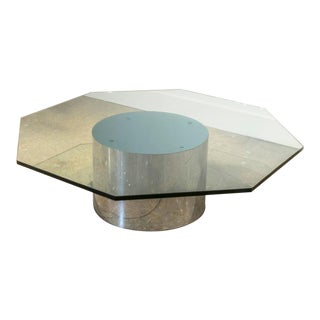 Milo Baughman for Thayer Coggin Steel Drum and Octagon Shaped Glass Coffee Table