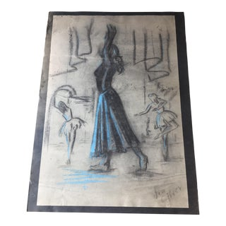 Mid-Century Blue Ballet Figure Sketch