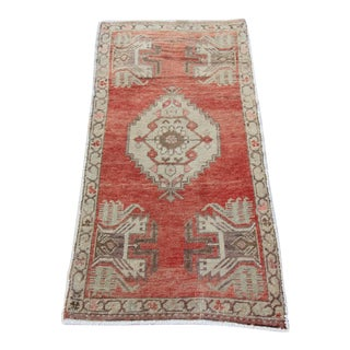 Mid-20th C. Vintage Antique Tribal Oushak Hand Knotted Turkish Rug - 1'8 X 3'2