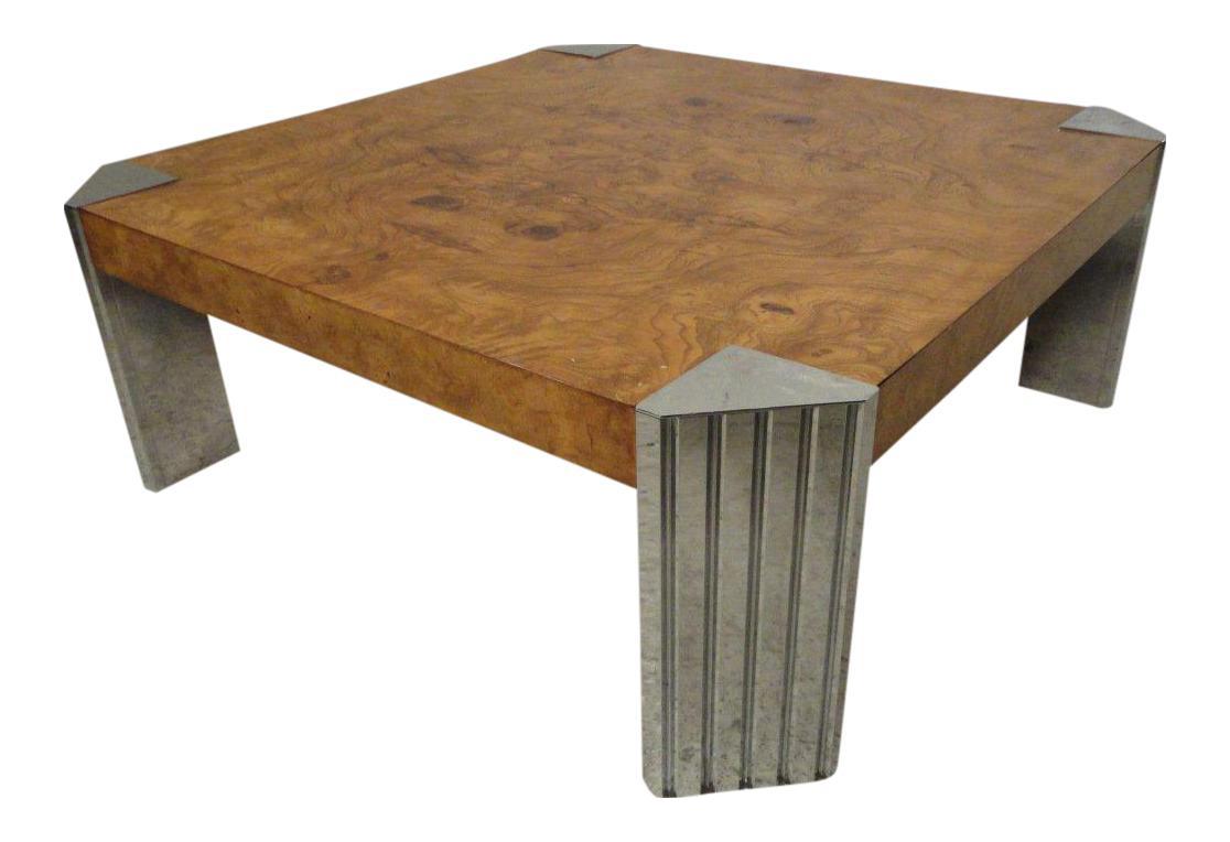 Milo Baughman Burl Wood Coffee Table