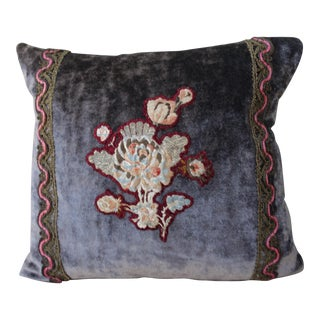 Charcoal Velvet Pillow w/ Antique Floral Applique