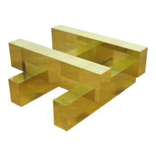 """Paul Evans Brass """"Cityscape"""" Coffee Table - Signed"""